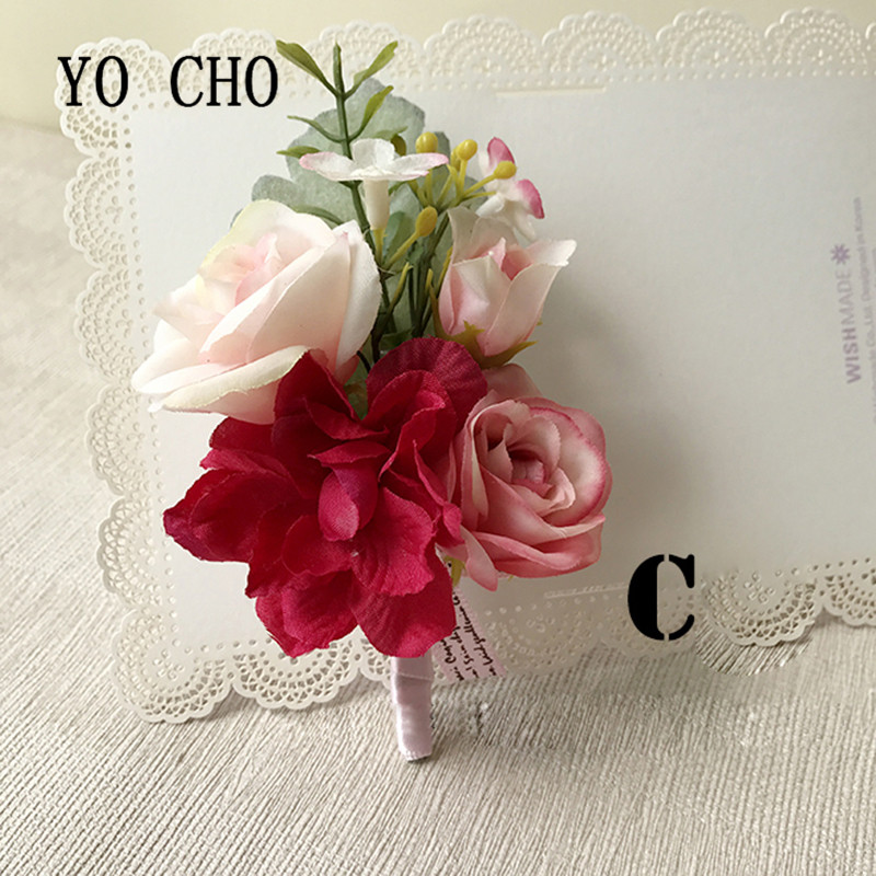 YO CHO High-end Wedding Flowers Artificial Corsage Brooch Pin Bridal Groom Groomsman Boutonniere Prom