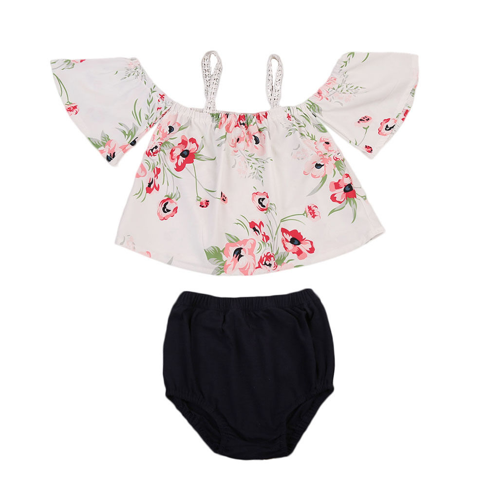 Cute Newborn Baby Girl Clothes 2017 New Fashion Off shoulder Flare Sleeve Floral Tank Tops+Baby Bloomers Shorts 2PCS Sunsuit 2pcs children outfit clothes kids baby girl off shoulder cotton ruffled sleeve tops striped t shirt blue denim jeans sunsuit set