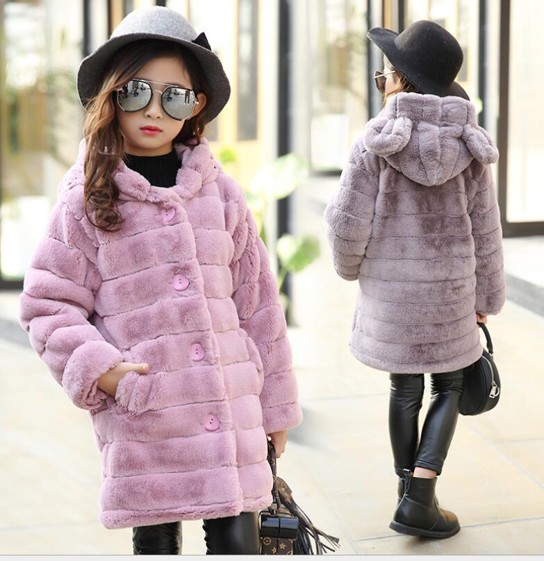 2018 Winter warm Baby Girls Outerwear Children Faux Fur Rabbit ears Coat kids Jacket girl fashion thickn parkas 4 5 6 7 8 year