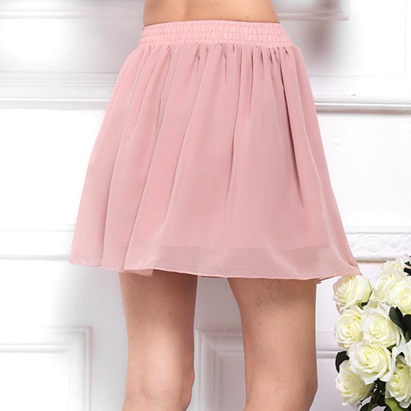 Danjeaner Zwei Schicht Sommer Mini Chiffon Röcke Mode Lässig Candy Farben Plissee Röcke Frauen Casual Strand Röcke Jupe Femme