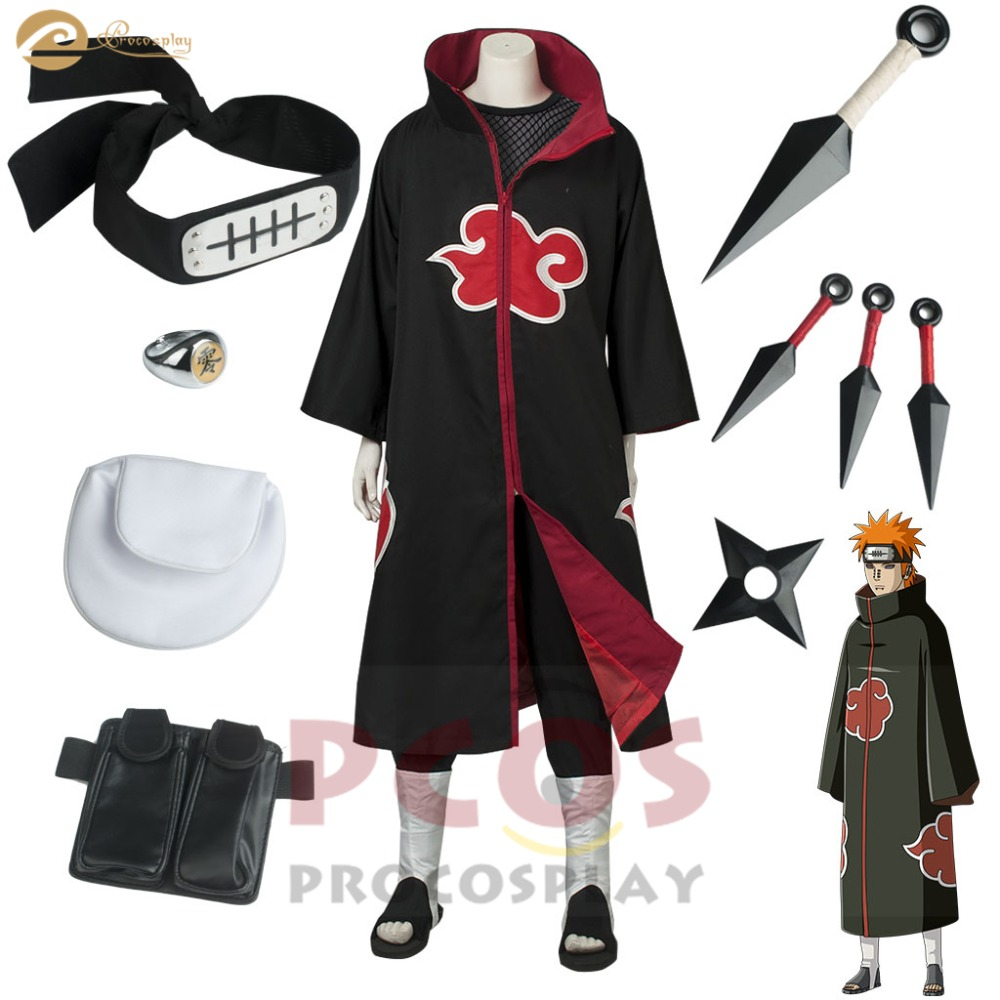 Naruto Shippuden Best Set ~ Akatsuki Pain Leader Deva Path Tendo Yahiko cosplay costume Planetary Devastation mp004252
