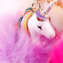 Cute Fluffy Unicorn Faux Fur Party Favor Key Chain