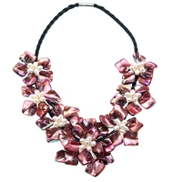2019 Hot Selling Mustard Red Baroque Shell Flower Chokers Necklace Boho Party Jewelry Female