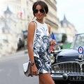 Случайные Свободные Платья 2016 Лето Женщины О-Образным Вырезом Без Рукавов Цветочный Принт Мода Элегантные Сексуальная Slim Fit Vestidos Мини-Платье
