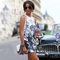 Casual Vestido Solto 2016 Mulheres Verão O-pescoço Sem Mangas Floral Imprimir Moda Elegante Sexy Slim Fit Vestidos Mini Vestido