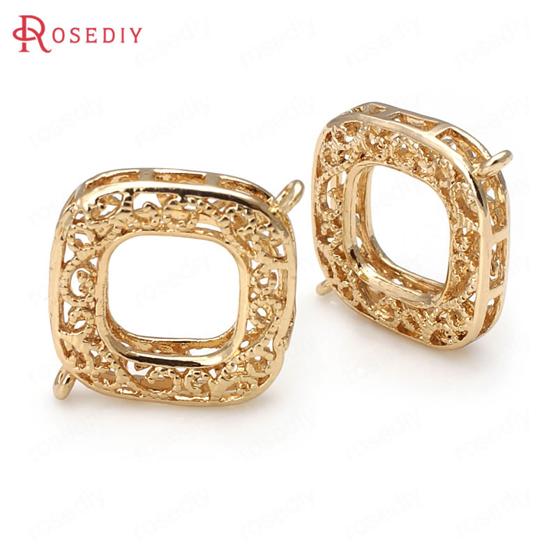 6PCS 20x26MM 24K Champagne Gold Color Plated Brass Square Connect Charms High Quality Diy Jewelry Accessories