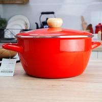 Japanese style porcelain enamel hot pot cooker double ears stewpot soup gas induction cooker saucepan stew pan with lid 23cm 4L