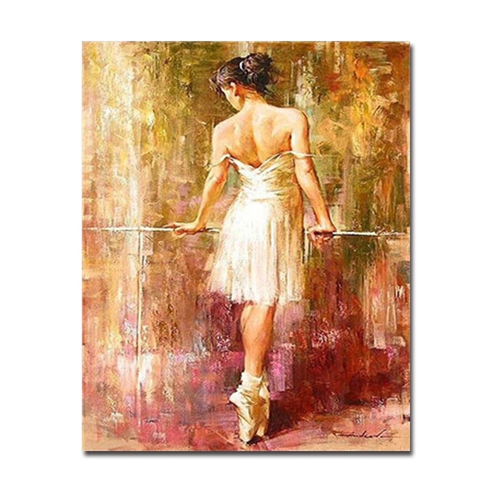 Frameless DIY Digit Canvas Oil Painting By Numbers Kits Coloring Handpainted Ballet Dancing Girl Pictures Home Wall Decor in Painting Calligraphy from Home Garden
