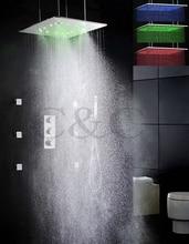 Nebel und Niederschläge 20-zoll-led temperaturempfindliche regen duschkopf thermostatischen bad brausebatterie gesetzt