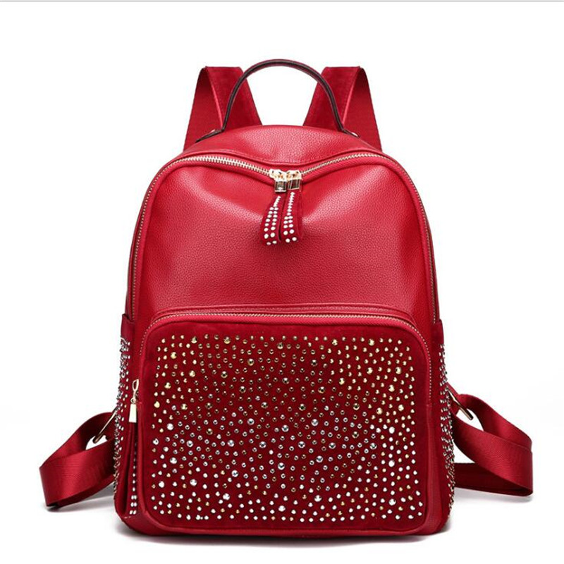 Women Diamond Leather Backpacks Large Size Travel Bags School Bags For Girls  MN924