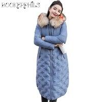 Fashion 2018 Winter Jacket Women Big Fur Hooded Thick Down Parkas Long Female Jacket Coat Plus Size 3XL Slim Warm Winter Outwear