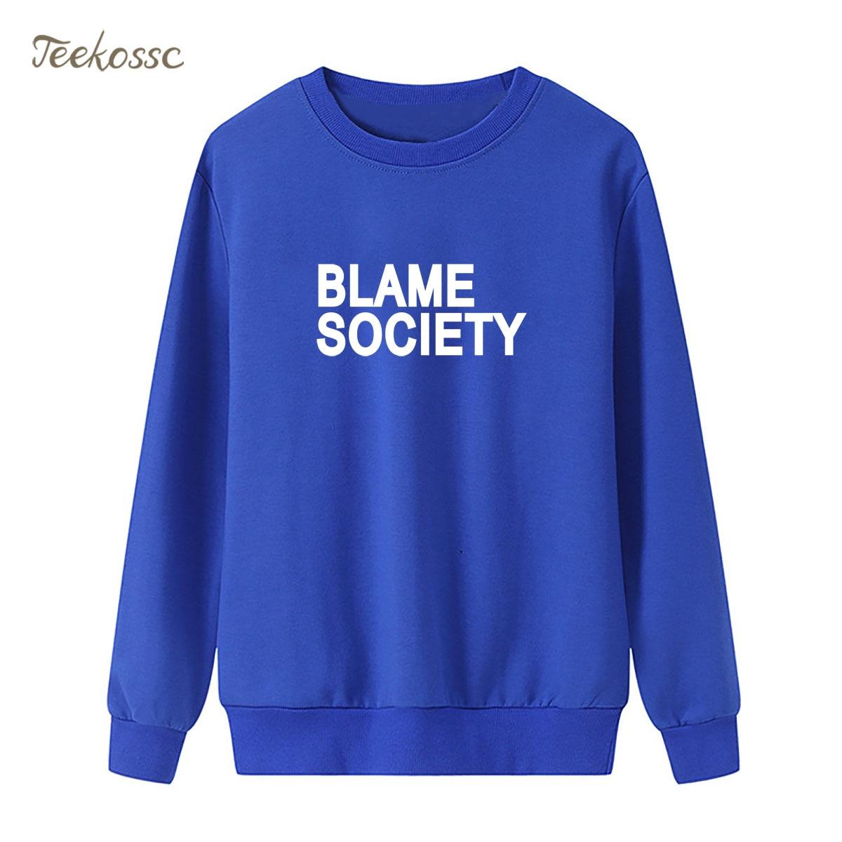 BLAME SOCIETY Sweatshirt Print Punk Rock Hoodie New Fashion Winter Autumn Women Lasdies Pullover Loose Fleece Hip Hop Streetwear