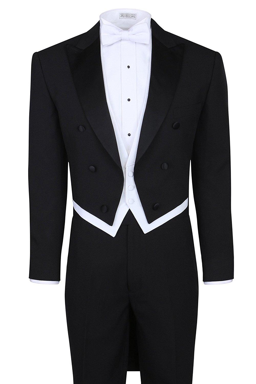 Men's Fashion 3 Piece Black Tuxedo Tails Includes Tailcoat Vest& Formal Pants(Jacket+Pants+Vest)