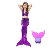Hot Sales Children Girl Cosplay Mermaid Tail Monofin Flipper Kid Swimsuit Mermaid Tops Purple Bikini Beach Clothing Party Photo