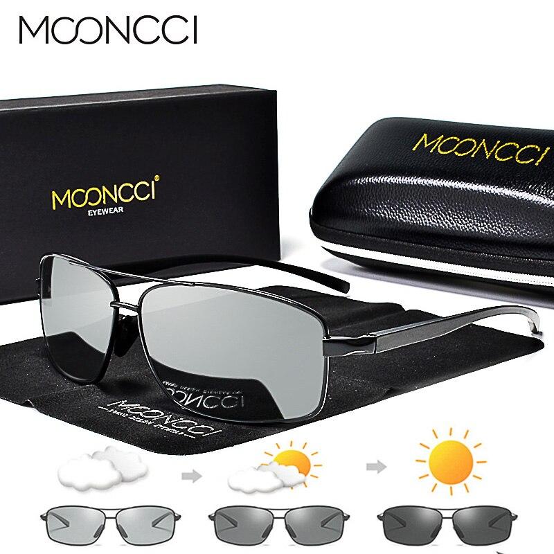 MOONCCI Fotocromáticas Óculos De Sol Dos Homens Polarizados Óculos Camaleão HD Condução Shades Óculos de Sol de Alumínio Masculino gafas lentes oculos