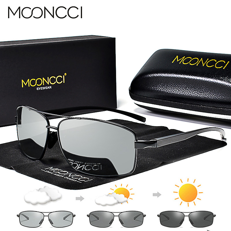 Image 1 - MOONCCI Photochromic Sunglasses Men Polarized Aluminum Chameleon Glasses HD Driving Shades Sun Glasses Male oculos gafas lentes-in Men's Sunglasses from Apparel Accessories on AliExpress