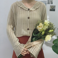 New Vintage Women Shirts Knitting Real Price Collar Button Open A Sweater Blouse Shirt Brown