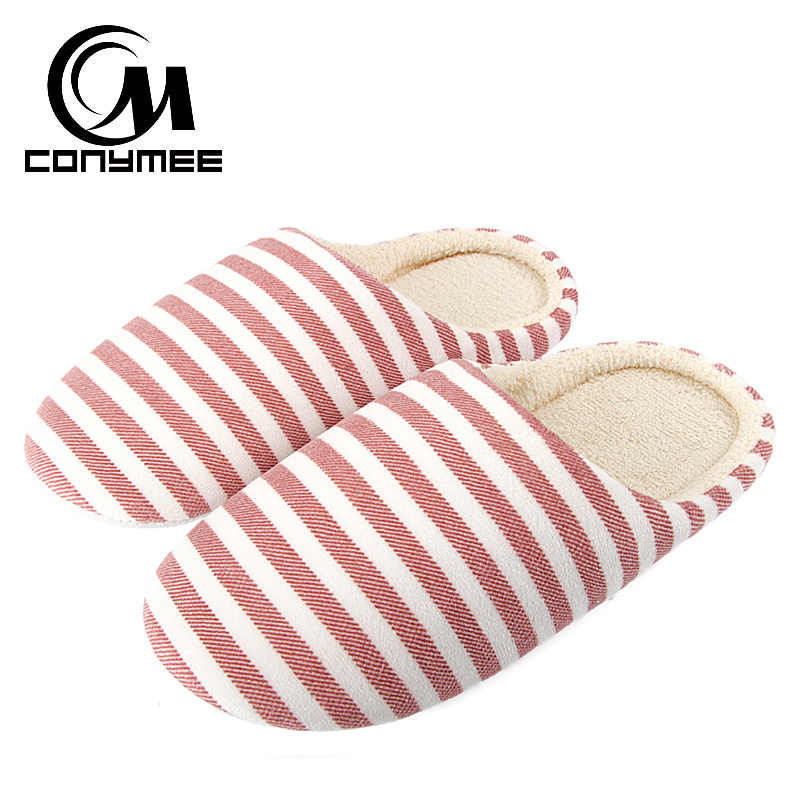 CONYMEE 2019 Fashion Home Slippers Soft Plush Women Indoor Flats Shoes Winter Lady Warm Cotton Slippers Large Size Bedroom Shoes