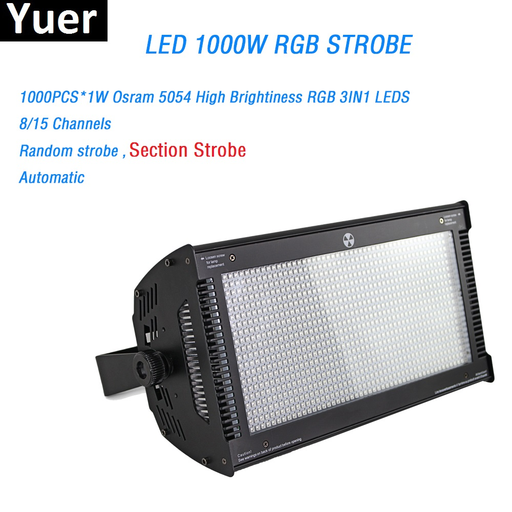 New LED 1000W RGB Strobe Light 1000Pcs X1W Q-sram High Brightiness RGB 3in1 Led 8/15 Channels KTV Bar Show DJ Disco Strobe Light