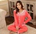 Nova pijamas de algodão sleepwear modelos femininos inverno de espessura dupla face seda leite terno de mangas compridas pijamas L XL