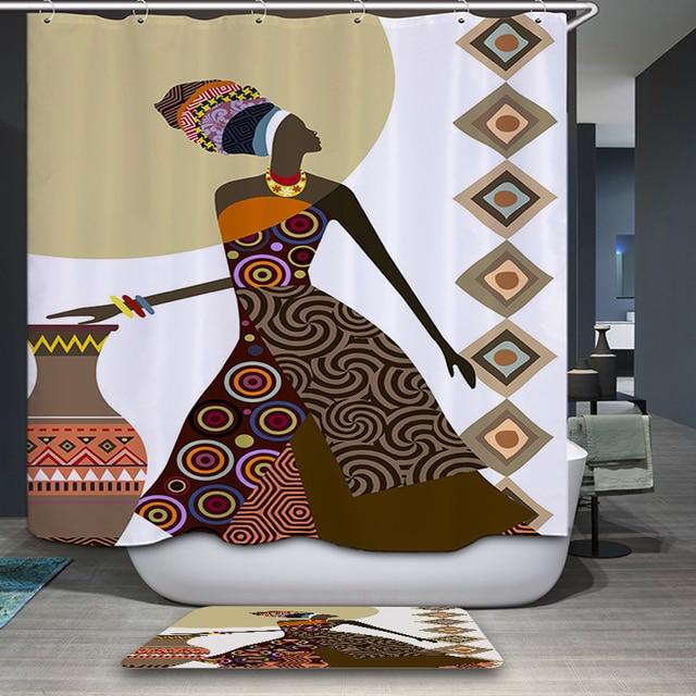 afrikanische frau wasserdichte mildewproof duschvorhang bad vorhang farbige umweltfreundliche stoff dusche vorhang - Stoff Vorhang Dusche