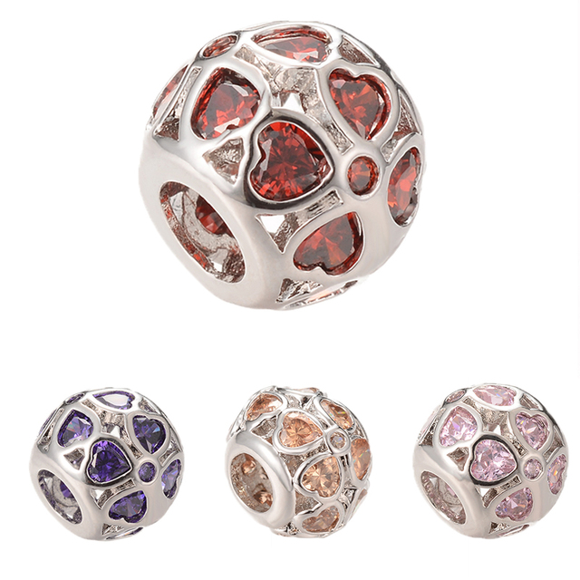 Hearts Disco ball Beads Big Hold Micro Pave Clear AAA Color Cubic Zirconia  Fit Original Charm efc6cbec6434