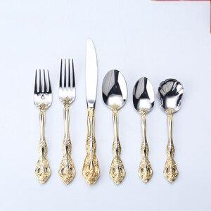 Image 3 - Talheres de aço inoxidável ocidental padrão retro talheres 6 peça conjunto colheres facas garfos conjunto cozinha casa wzn018