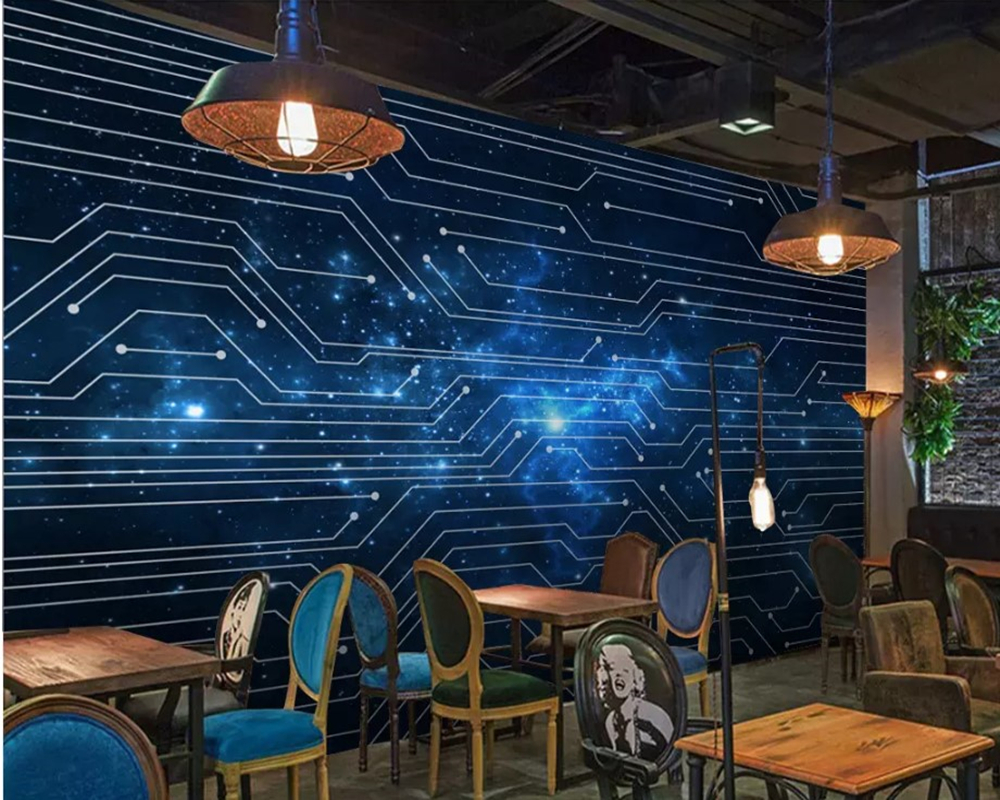 Papel De Parede 3d Abstract Lines Blue Starry Circuit Board
