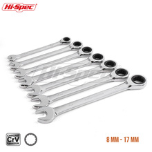 Hi-Spec 7pc Ratchet Combination Wrench Set 8 10 12 13 15 17 19mm High Torque Spanner A Of Keys Gear Ring WR009
