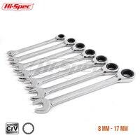 Hi Spec 7pc Ratchet Combination Wrench Set 8 10 12 13 15 17 19mm High Torque Spanner Set A Set Of Keys Gear Ring Wrench WR009