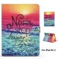 Ранний Вечер Пляж Шаблон PU и ПК Материальной Поддержки Защитная Крышка Чехол для iPad Air 1