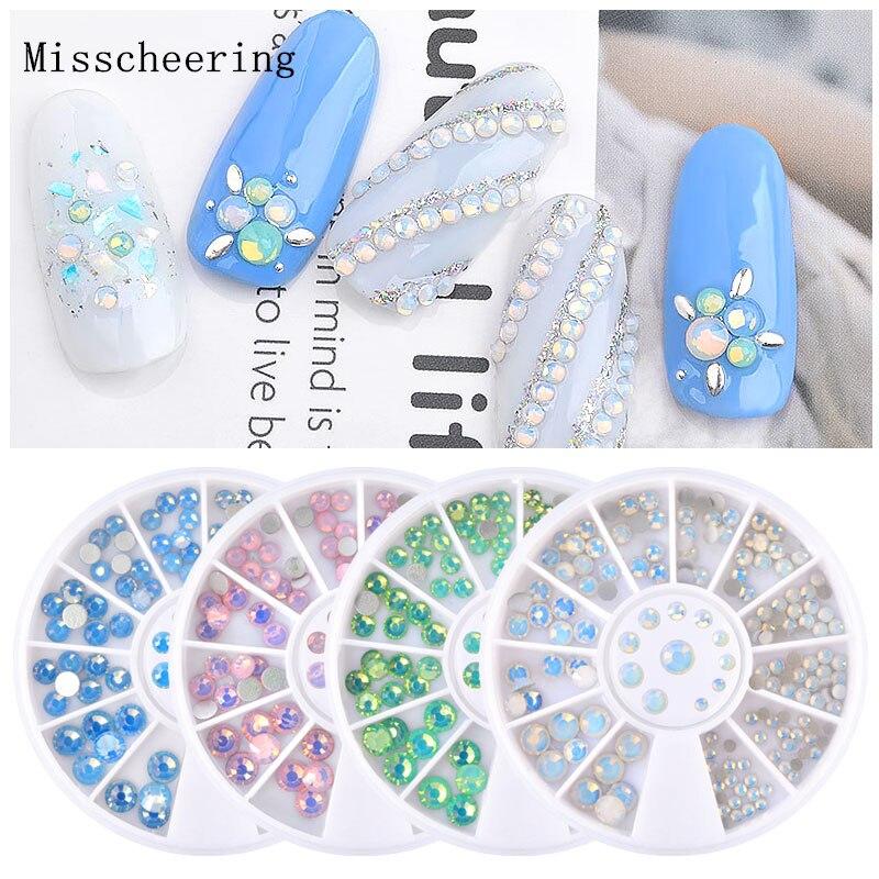 1wheel Mixed Size Crystal Colorful Opal Nail Art Rhinestone Decorations Flatback Glitter Gems 3D Design Manicure Books Accessory