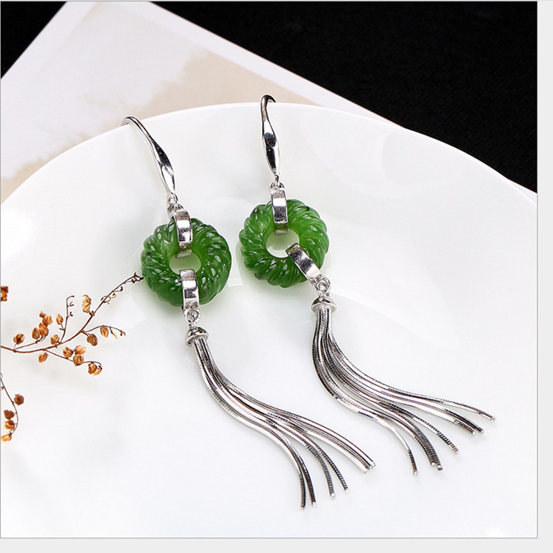 Green Summer Pretty New Jade Dangle Earrings Hand Made 925 Solid Silver.