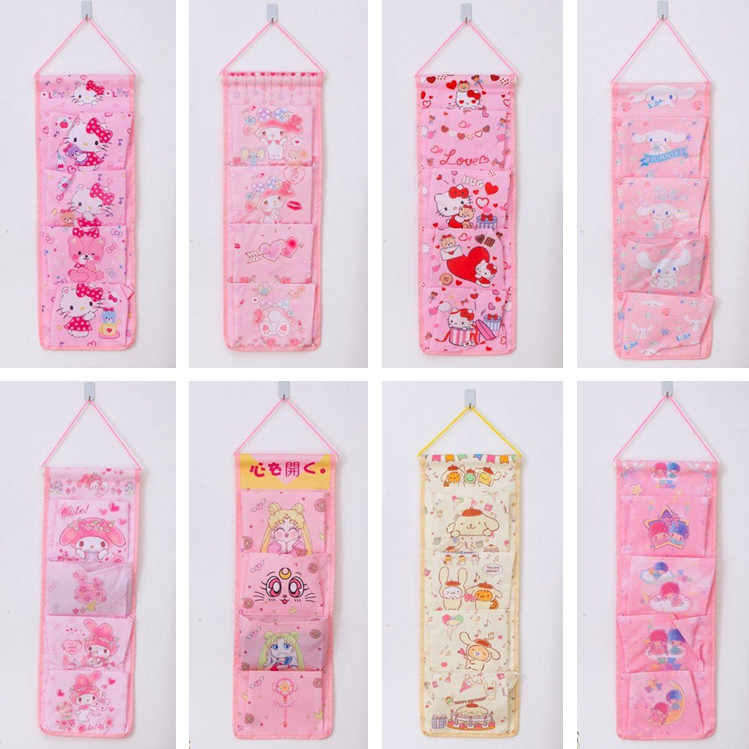 1Pc Cartoon Wall Hanging Storage Bag Fashion Makeup Organizer 4 Pockets Pouch Bags