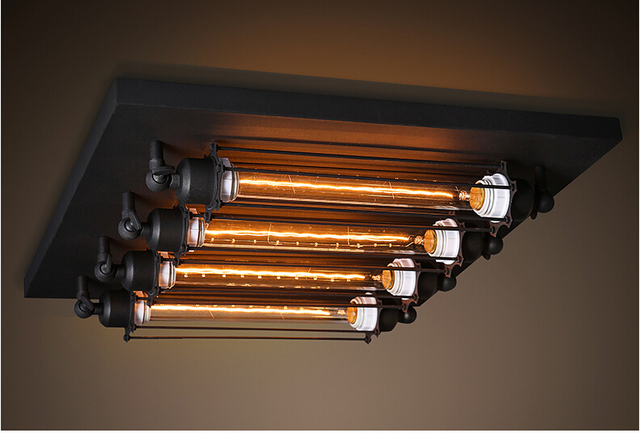Creativo vintage industriale ferro nero luci di soffitto del led