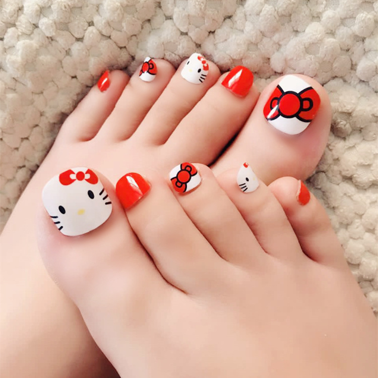 Kawaii Cute Red Kitty Cat Fake Nails Toe Nails Tips french ...