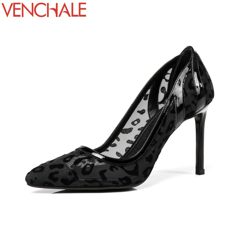 VENCHALE sheepskin wedding party dress graceful curve design pointed toe lace sexy shoes thin high heels stiletto woman pumps venchale two heels options sheepskin