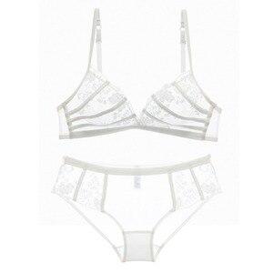 Image 4 - 5 kleuren plus size lace transparante ultradunne cup sexy vrouwen mode bh slipje sets slaap beha set borduurwerk ondergoed pakken