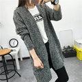 New Outono Versão Coreana Cor Sólida Bolso Solto Camisola de Manga Longa de Luxo Feminino Longa Camisola Casaco Cardigan Sweater Poncho