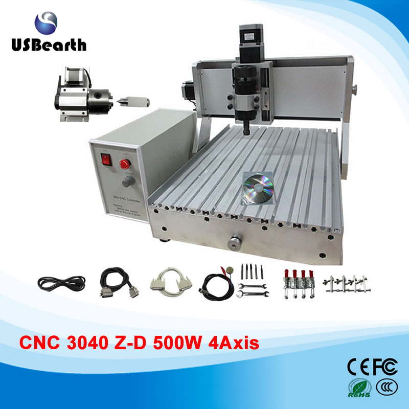 4 Axis CNC 3040Z-D 500W engraving machine, CNC router to Russia free tax no tax to russia cnc 5 axis t chuck type include a aixs