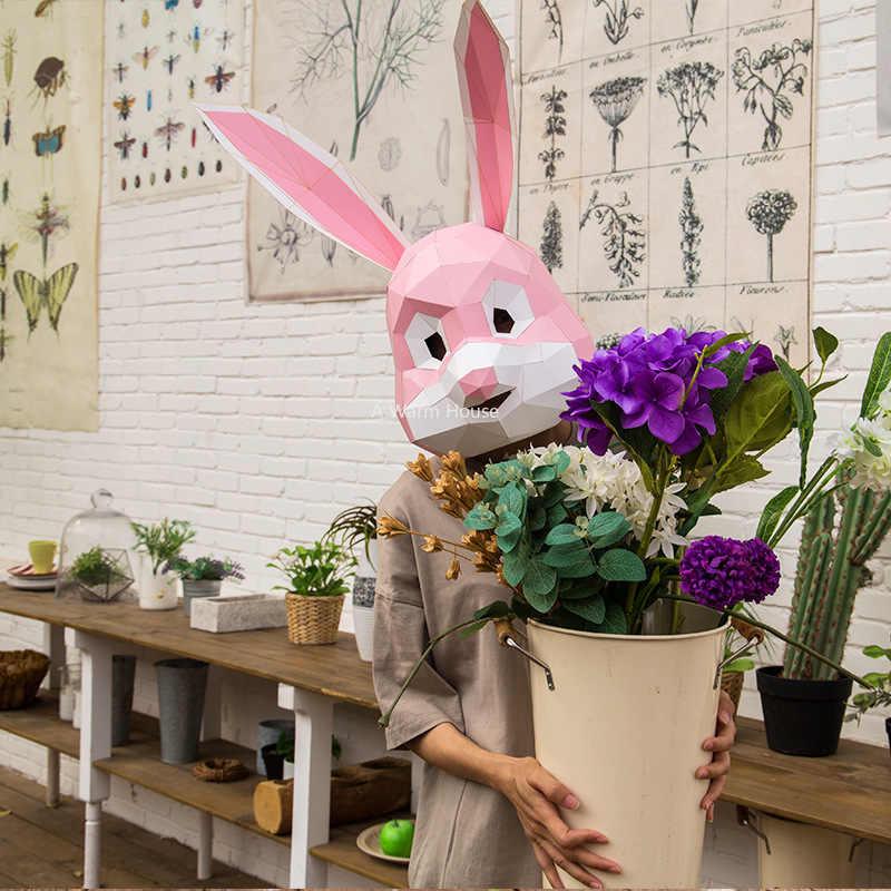 Маска для вечеринки Хэллоуин голова кролика маскарадные маски Косплей Кролик маска DIY Бумага тушь для ресниц 3D декор Carnaval Acessorios креативный