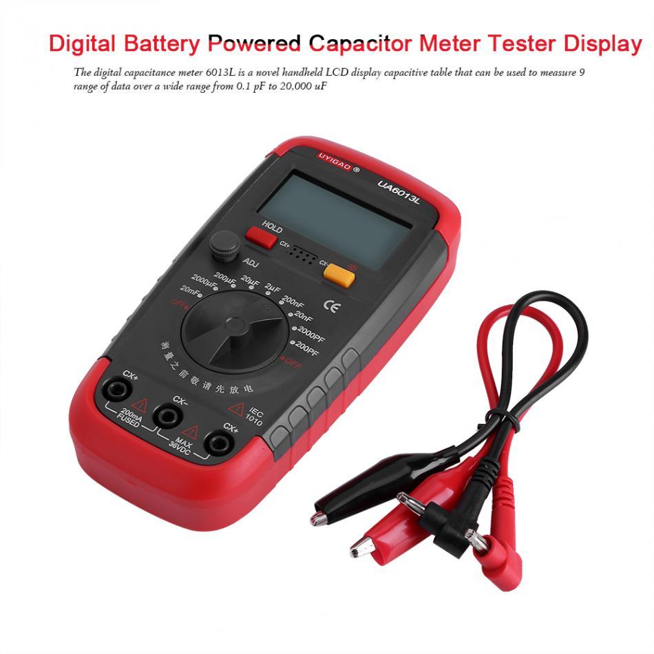 US $15 11 27% OFF|UYIGAO Digital Capacitance Meter Capacitan Capacitor  Meter Tester 6013L LCD Display Battery Powered Tester Capacitor Capacity-in