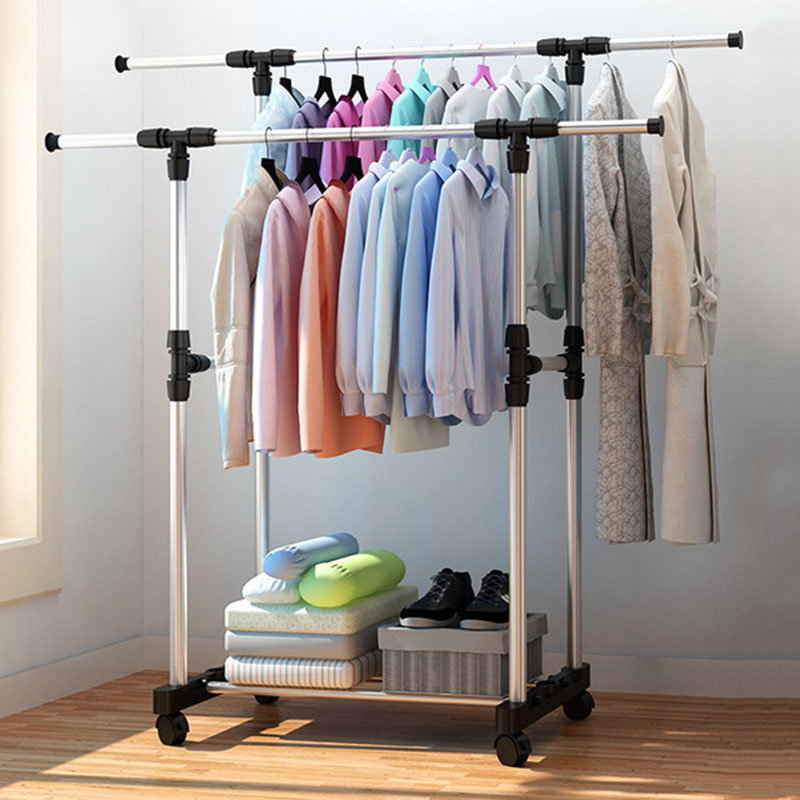 Living Room Furniture Double Folding Metal Coat Rack Clothes Rail Hanging Garment Dress On Wheels Rack Bedroom Furniture
