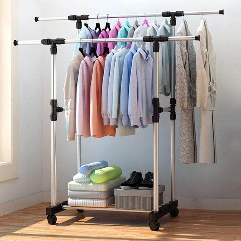 Living Room Furniture Double Folding Metal Coat Rack Clothes Rail Hanging Garment Dress On Wheels Rack Bedroom Furniture
