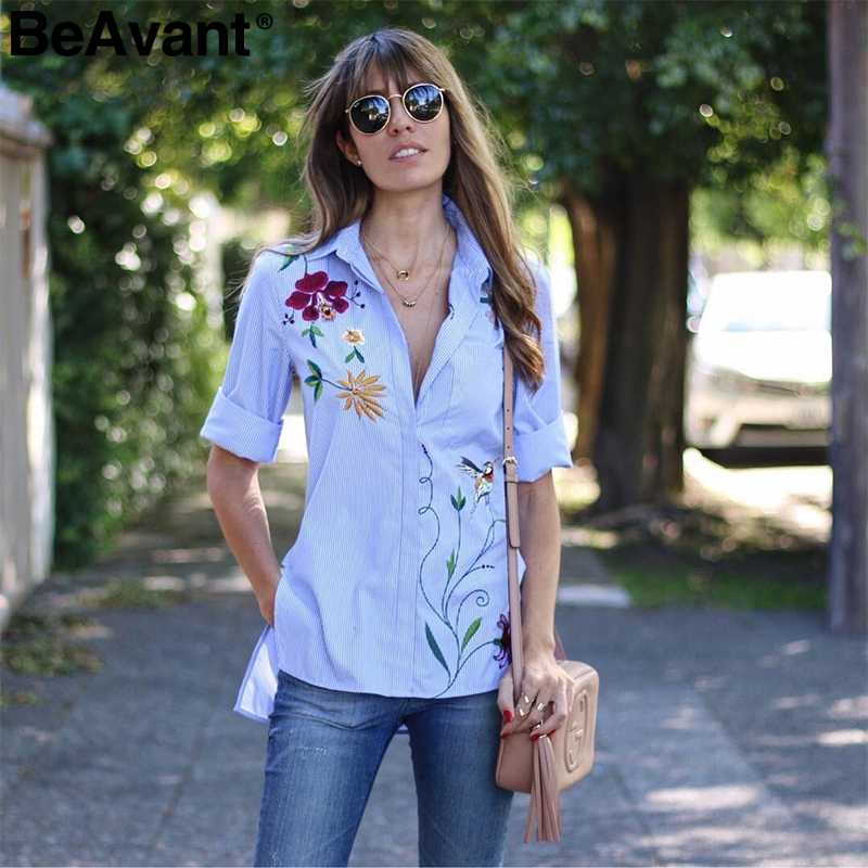 BeAvant Spring casual striped blouse shirt women Floral embroidered blouse female tops 2018 Long sleeve summer blusas shirt lady