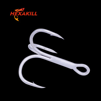 Hexakill 20/10pcs Tin/Black Nickel  round bent treble Hooks Sharp 2X Super Strong High Carbon Steel three fork claw hook