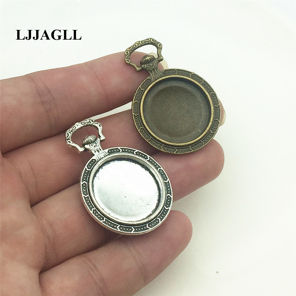 LJJAGLL 4pcs/lot Tow Colors Zinc Alloy 27*38mm(Fit 20mm dia) Round Cabochon Flower Pattern Vintage Pendant Blank Base AXDT056