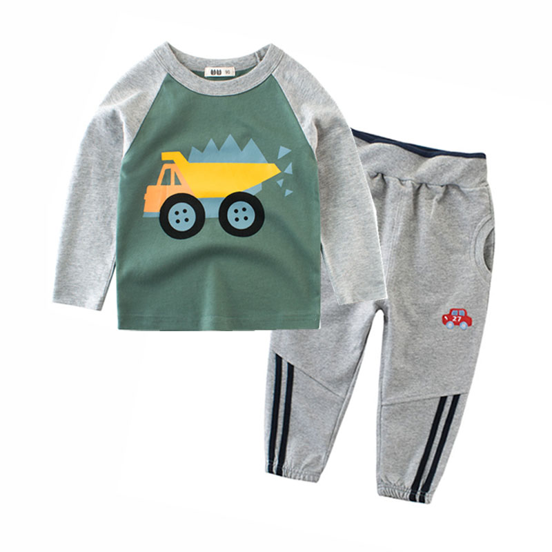 2019 Kids Clothes for Boys Autumn Winter Long Sleeve Cartoon Cars Children's T shirt and Pants Set 2pcs Baby Kids Set 2 3 4 5 8y