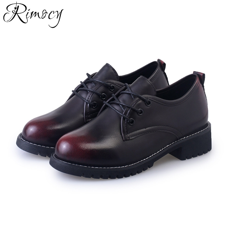 3cb2842e6921 Rimocy British vintage red black patchwork women ankle boots fashion 2017 thick  heels lace up casual shoes woman platform flats