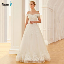 2364ccb2437d Dressv Long Off The Shoulder Wedding Dress Short Sleeves Appliques Lace  Beading Crystal Pearls Organza Princess Wedding Dresses